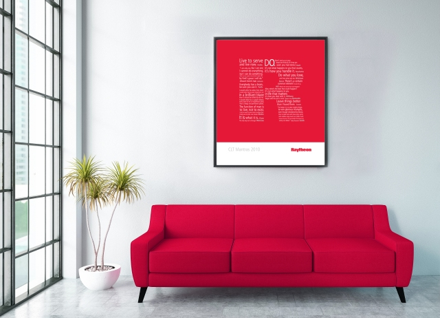 Waiting Room with Empty Frame and Red Sofa
